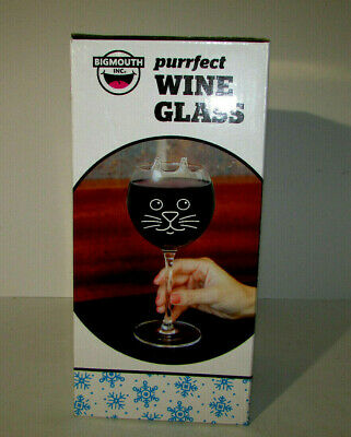 Big Mouth PURRfect WINE GLASS Large 12 OZ Glass w Painted Face Molded Ears + BOX