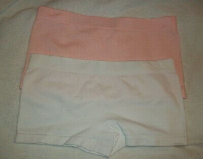 Two Pairs Girls Light Pink & White Seamfree Boxers Knickers Age 9-10 Years New