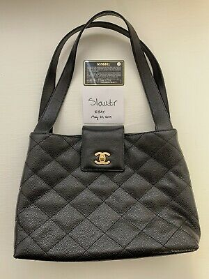 Vintage Authentic Chanel black/gold caviar leather Handbag with Serial Number