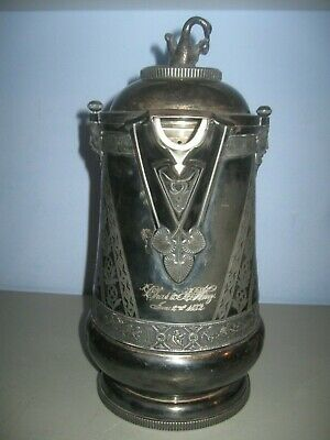 1868 Antique Silver Insulated Pitcher Porcelain Lined
