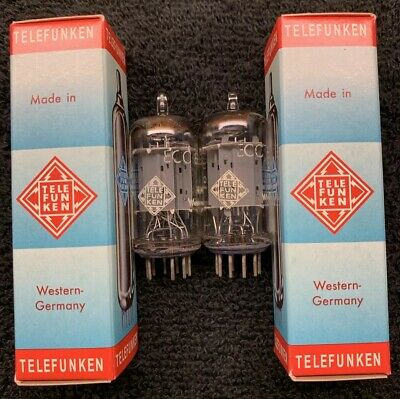 2 Matched Telefunken ECC83 12AX7 Smooth Plate Tubes W. Germany <>