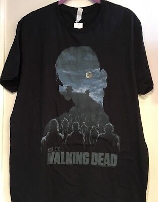 Nwt Fruit Of The Loom Amc The Walking Dead T-Shirt Black & Blue  Size Large