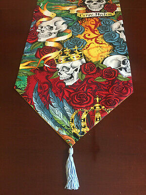 Gold Crowns & Roses Skulls Day of the Dead CottonTable Runner by ThemeRunners