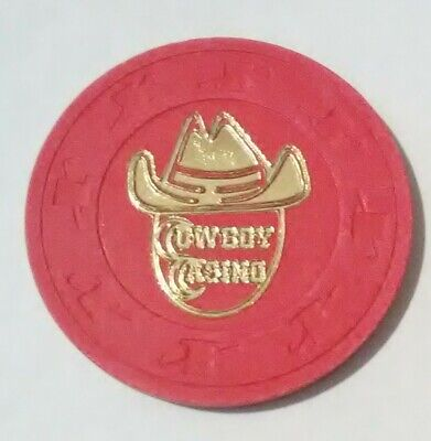 1980's COWBOY CASINO LAS VEGAS, NEVADA HARD TO FIND RED COWBOY HAT LOGO CHIP!