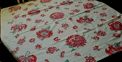 """Vintage Shabby Cottage Floral Tablecloth~45 by 47"""""""