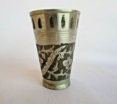 Vintage Old Handmade Floral carved Brass Chrome Plated Water /Lassi /milk Glass
