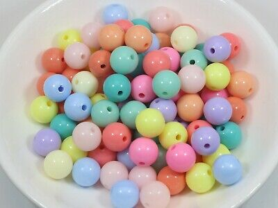100 Mixed Pastel Color Acrylic Round Beads 10mm Smooth Ball Spacer
