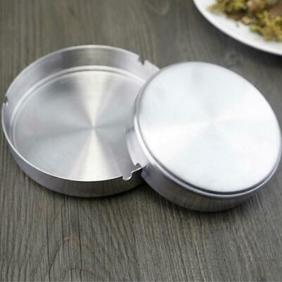 Round Stainless Steel Cigarette Ashtray Smoke Holder Home Table Desk JA