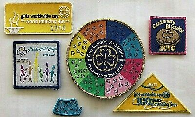 6 x Girl Guides Australia Centenary Badges, 2010, 100 years,Beautiful collection