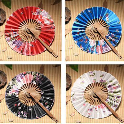 Vintage Japanese Sakura Flowers Windmill Silk Bamboo Folding Hand Held Fan L_D