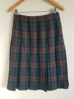FLETCHER JONES Vintage Plaid Skirt Box Pleats Pure New Wool size 12 EUC