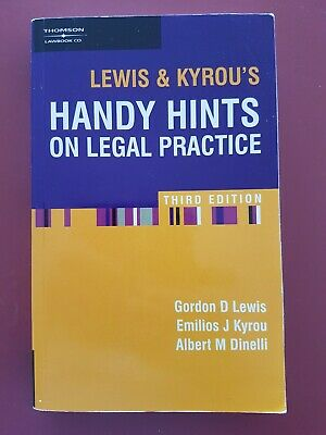 Lewis & Kyrou's HANDY HINTS ON LEGAL PRACTICE THIRD EDITION Paperback 2004