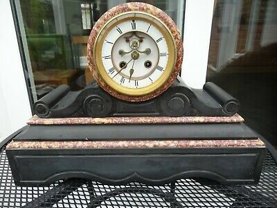 French Marble & Slate Clock - Needs Attention