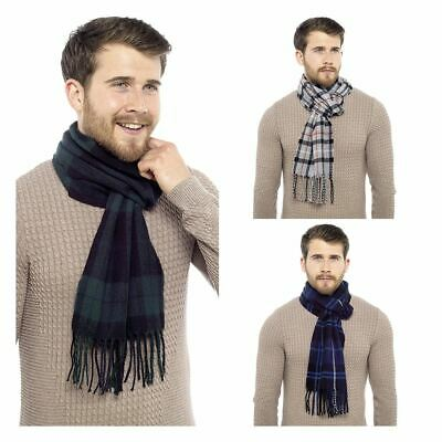 Mens Undercover Check Tartan Winter Scarf