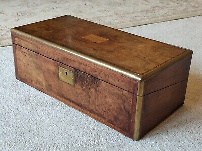 Beautiful Original Victorian Brass Banded Writing Slope With Secret Drawers