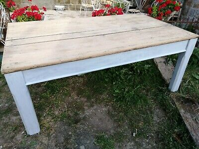 French antique stripped pine scrubbed plank top painted farmhouse kitchen table