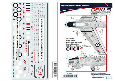 1/72 Avon Sabre RAAF Stencils/Roundels/Fin Flashes Decal