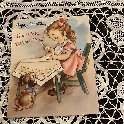 Vintage Greeting Card Birthday Daughter Table Dog Rust Craft