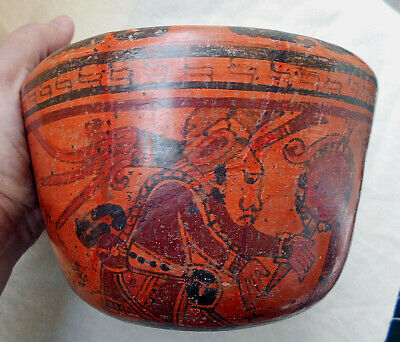 Mayan pre columbian bowl,VERY fine ullu valley piece group of figures and bird