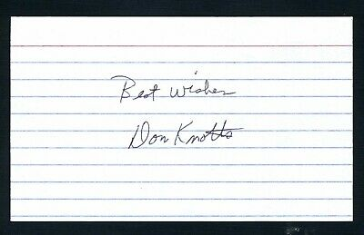 """Don Knotts DEC Actor: Andy Griffith Show-'Barney Fife"""" Signed 3x5 Card C15887"""