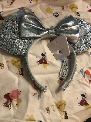 New! Disney Parks Frozen Arendelle Aqua Minnie Mouse Ears Ear Headband