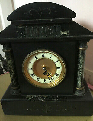 Antique French Marble and Slate Clock C19 Working Cond COLLECTION ONLY