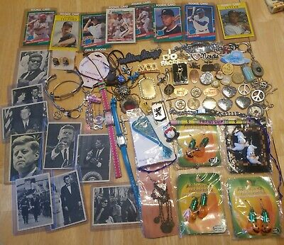 VINTAGE ESTATE JUNK DRAWER lot baseball cards  coins watches jewelry charms JFK