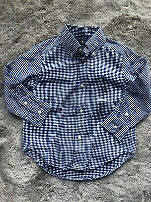 Boys Blue Gingham Check Shirt By Ralph Lauren Age 2 Years