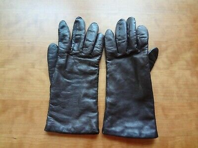 VTG Fownes Brown Leather Gloves with Cashmere Lining in size 7.5