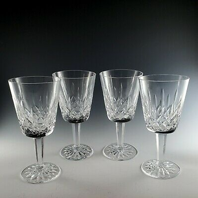 4 Waterford Crystal LISMORE Water Goblets, Nice Preowned Condition, Signed