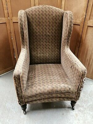 Antique Victorian wing armchair for reupholstery