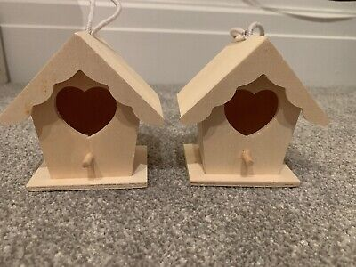 2x Decorate Your Own Wooden Birdhouse With Heart Opening. Hanging Decorations.