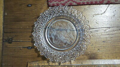 Antique Etched EAPG Decorative Glass Plate CUPIDS, Lace Floral Edge