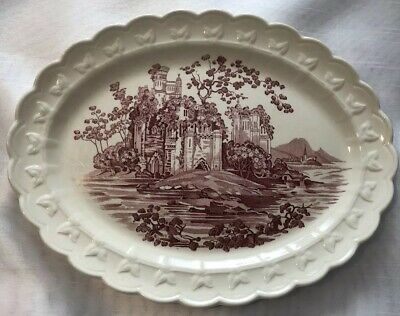 Vintage Taylor Smith Taylor Red/Pink White Castle China Platter