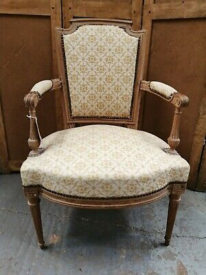 Antique French Louis XVI style carved frame fauteuil armchair