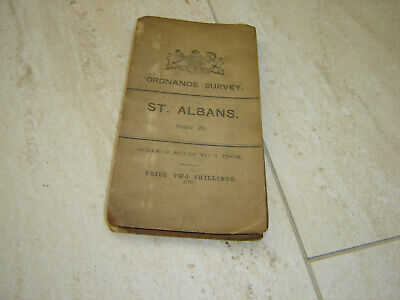 1908 Ordnance Survey Cloth Map - Sheet 29 St Albans Herts - Luton Enfield Etc