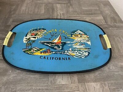 Vintage Mid Century Modern California Santa Cruz Fish Bar Drinks Tray Wall Art