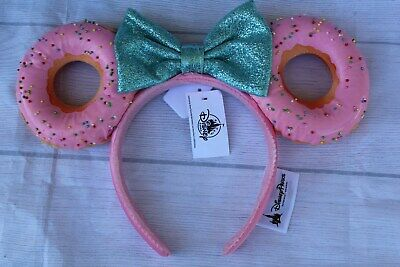 Disney Parks Foodie Minnie Mouse Glitter Bow Sprinkle Pink Donut Ears Headband
