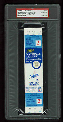 1985  NLCS GAME 2 FULL TICKET STUB LOS ANGELES DODGERS vs ST LOUIS CARDINALS PSA