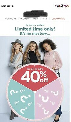 KOHL'S  40% OFF Code Online Only Valid to 09/22- No Kohls Charge Card Required