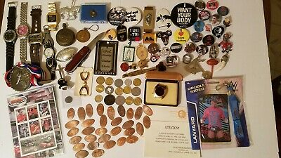 VINTAGE ESTATE JUNK DRAWER lot pocket watch knife coins tokens pins swiss army