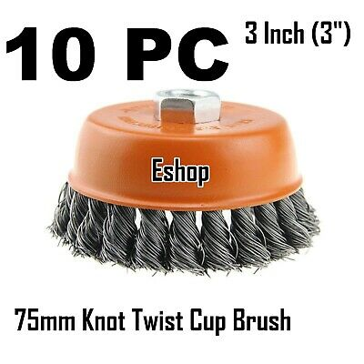 """10PC x 3"""" Wire Cup Brush for 4-1/2"""" Angle Grinder 5/8-11 Twist Knot Hoteche"""