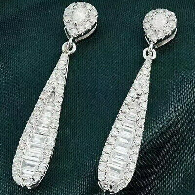1Ct 100% Natural Diamond 14K White Gold Baguette Round Cocktail Earrings EU40