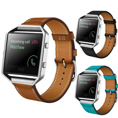 For Fitbit Blaze Watch +Metal Frame Classic Genuine Leather Watch Band Strap