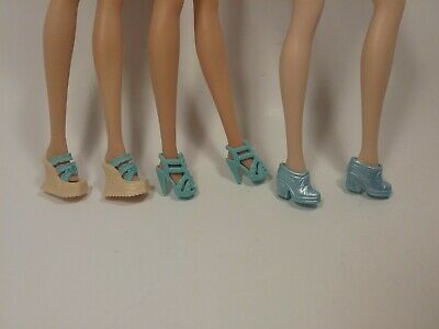 Barbie Doll Turquoise Blue Lot of 3 Pairs Shoes High Heels Boots Wedges 1 Marked