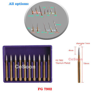 10Pcs Dental Carbide Trimming Finishing Gold Burs Drills Tungsten Burrs FG7902