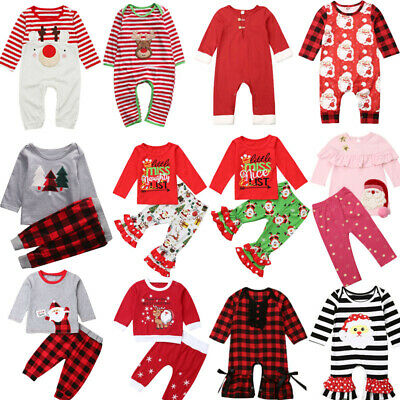 Xmas Christmas Toddler Baby Kids Boys Girls Romper Clothes Dress Outfits