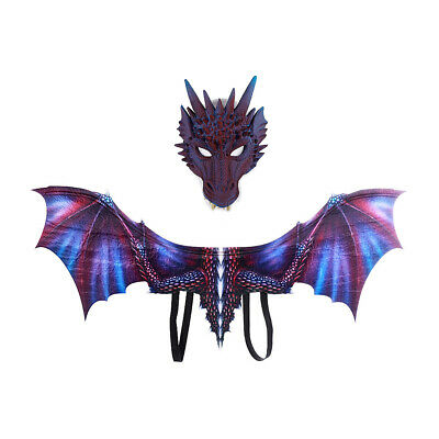 Mask+Wing Tail Dragon Cosplay Decor Carnival Dinosaurio Halloween Costume 6Color