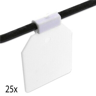 25x WHITE PEGBOARD PRICE TAGS Euro Retail Display Clip On Labelling Peg Hooks