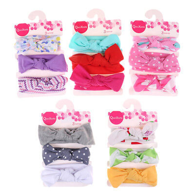 3Pcs/Set Baby Girls Kids Cotton Bowknot Headband Children Hair Band Headwear HGU